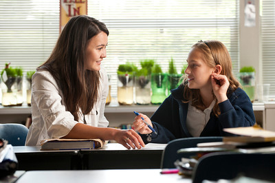 student teacher and student