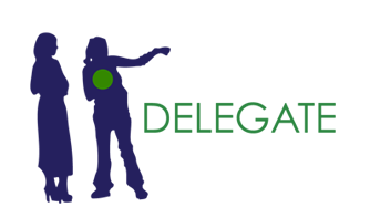 Delegate - icon of one person pointing something out to another