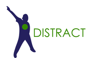 Distract - icon of a person pointing up and away from himself