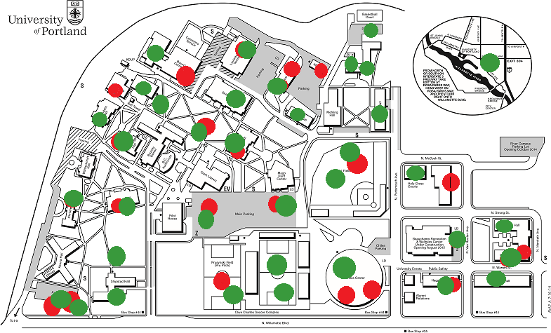 Map of campus with green and red dots; link to Green Dot videos
